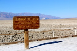 Badwater Basin Sign in Death Valley National Park, California, USA.