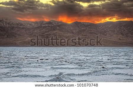 Badwater Salt lake at Death Valley - sunset shot