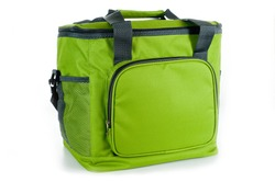 Bag cooler bright green for carrying and storing products.