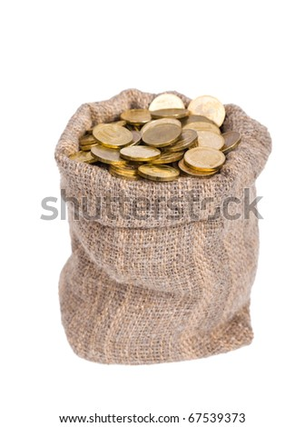 Bag filled with coins. A white background. Isolated.