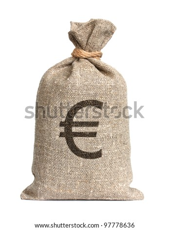 Bag from Euro isolated on a white background.