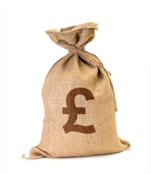 Bag from Pound isolated on a white background.