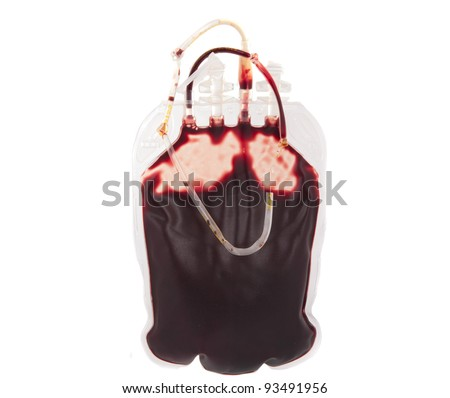 bag of blood isolated on white background