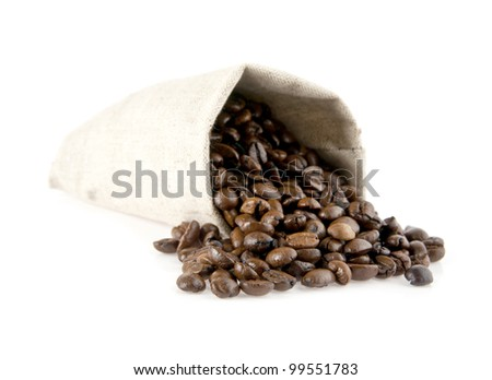 bag of coffee on a white background - stock photo