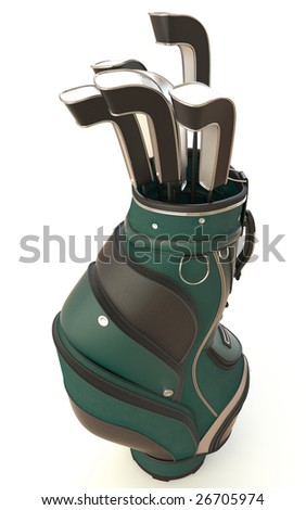 bag of golf clubs isolated on white. This image contains a clipping path for exact isolation from the background