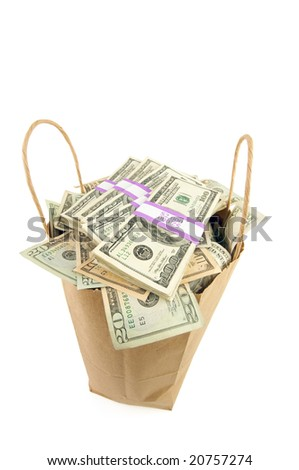 Bag of Money Isolated on a White Background.