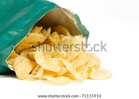 Bag of Potato Chips Isolated on a White Background