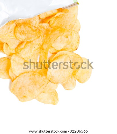 Bag of Potato Chips isolated on white