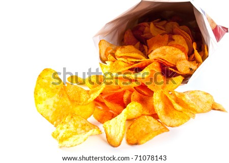 Bag of Potato Chips. Potato chips poured out from packing on a white background