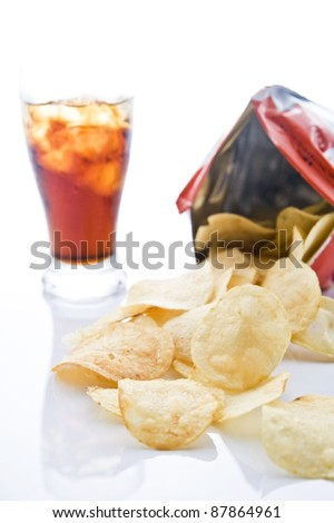 Bag of potato chips with soda on white background