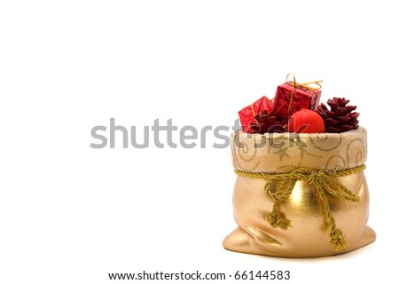 bag of Santa Claus with gifts and christmas tree toys isolated on white background