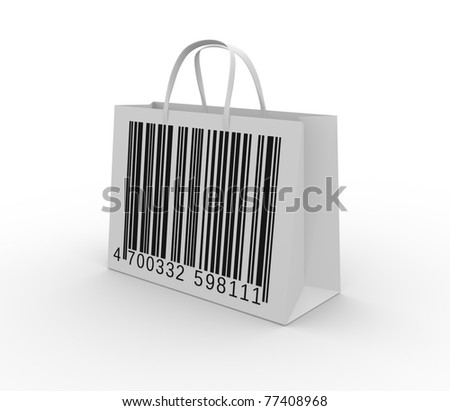 Bag with bar code ( barcode )- This is a 3d render illustration