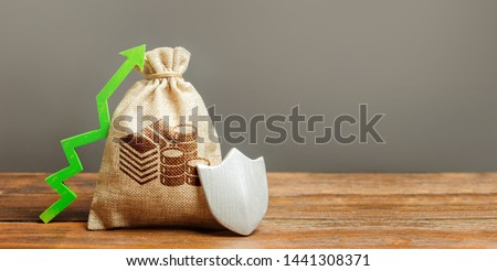 Bag with cash money symbol, a green arrow up and shield. Client rights protection. safeguarded capital. Concept of protection of money, guaranteed deposits. Increasing the safety of savings