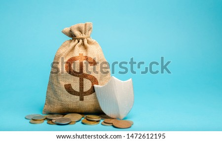 Bag with dollar symbol and protection shield. Concept security of money, guaranteed deposits. Client rights protection. Compensation for losses in inflation, safeguarded investment capital.