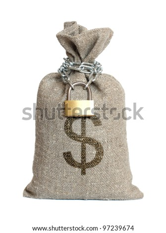 Bag with dollars isolated on a white background.