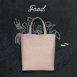 bag with drawn  food on a chalk board