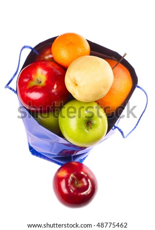 Bag with fruits isolated on white background