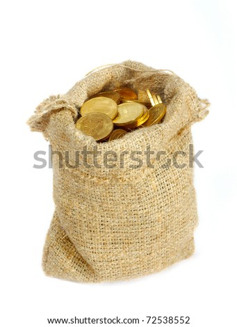 Bag with gold coins