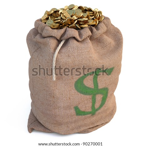 bag with golden coins. isolated on white.