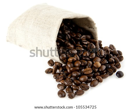 bag with grains of coffee on a white background