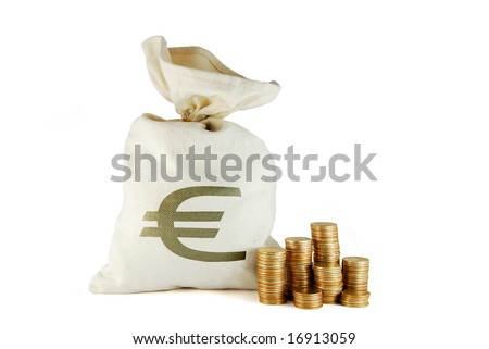 Bag with money and coins near on the white background