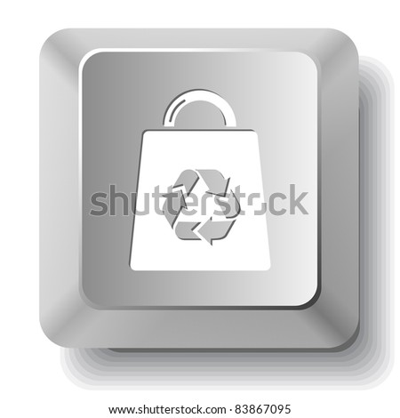 Bag with recycle symbol. Computer key. Raster illustration.