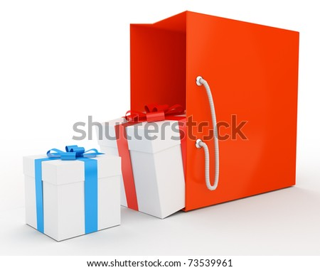 bag with some gifts isolated over white