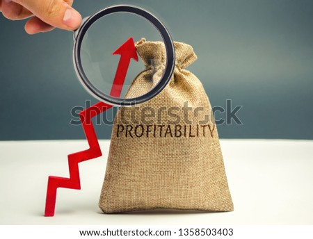 Bag with the word Profitability and an up arrow. High economic efficiency and profitableness. Business development assessment. The increase in revenues in the company. Profit growth. #1358503403