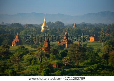 Bagan in the morning The sunrise looks beautiful. Сток-фото ©