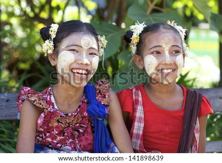 BAGAN MYANMAR OCT 15 Unidentified Burmese children wearing traditional Thanaka face cream in Bagan Myanmar on October 15 2011 Thanaka face cream has been used by Burmese for over 2000 years