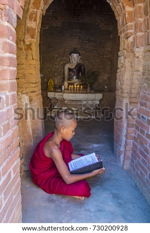 BAGAN , MYANMAR - SEP 05 2017: Novice monk in bagan Myanmar on September 05 2017 , The ruins of Bagan has 2,200 temples and pagodas