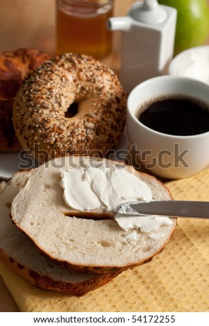 Bagel with Cream Cheese and Coffee