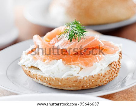 bagels and lox and sprig of dill - stock photo