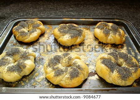 Bagels on baking tray