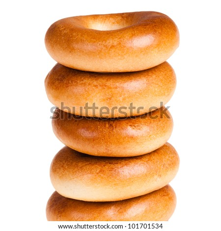bagels stack isolated over white background
