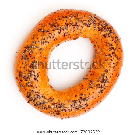 bagels with poppy seeds isolated on white background - stock photo