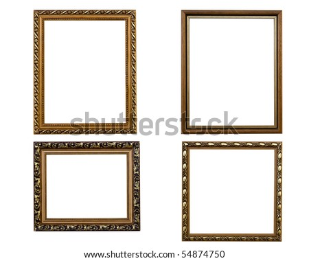 Baget frames placed on a white background isolated