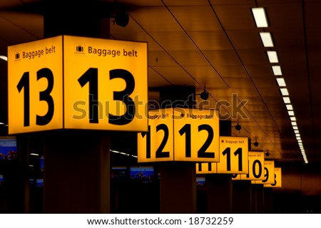 Baggabe belts in Schiphol airport, Amsterdam