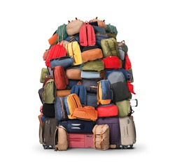 Baggage, a very large pile of bags, backpacks and suitcases