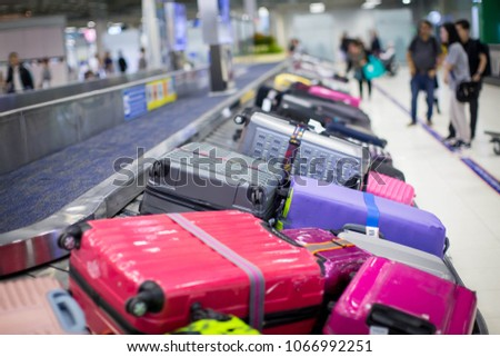 baggage on carousel at the airport