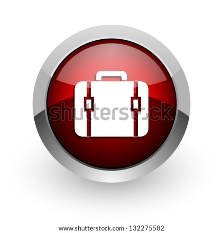 baggage red circle web glossy icon