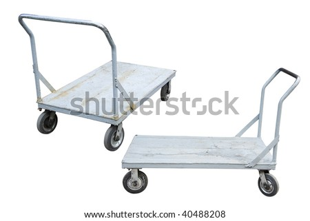 baggage trolleys under the white background