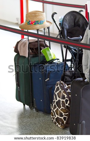 Baggage waiting for check in on airport