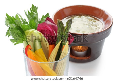 Bagna Cauda , Italian Warm Party Dip Served With Fresh Vegetables ...
