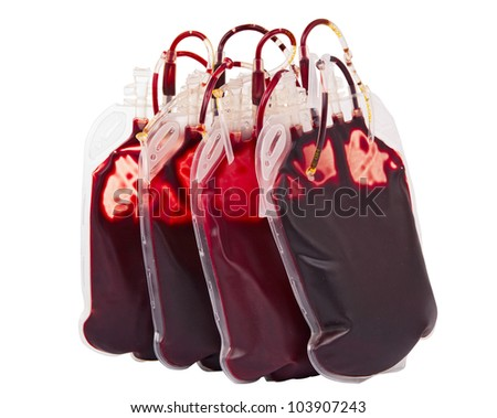 bags of blood, isolated on white background