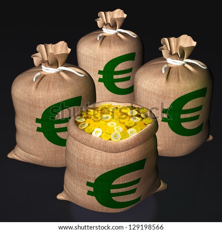 Bags Of Coins Shows European Economy And Savings