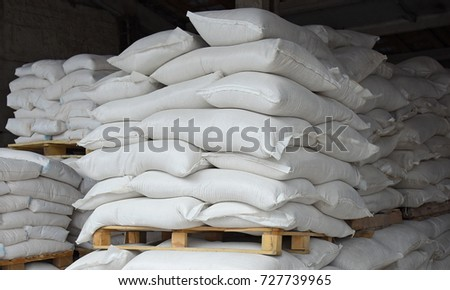 bags of flour at the warehouse of the factory #727739965