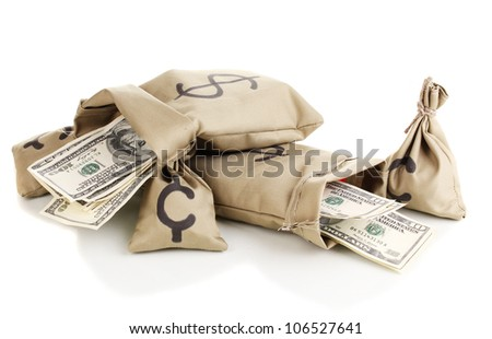 Bags with money isolated on white