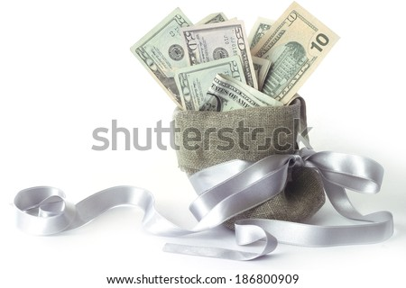 Bags with money isolated on white with copy space