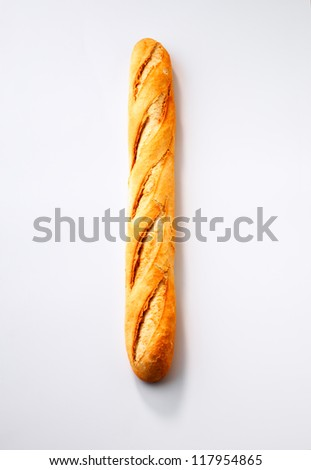 Baguette isolated against white background